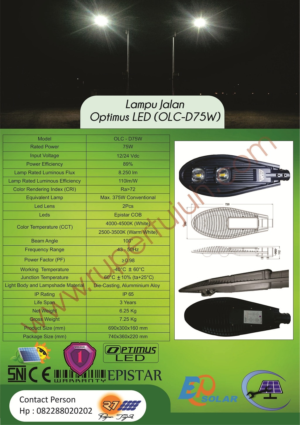 Optimus Led DC (OLC) D75W