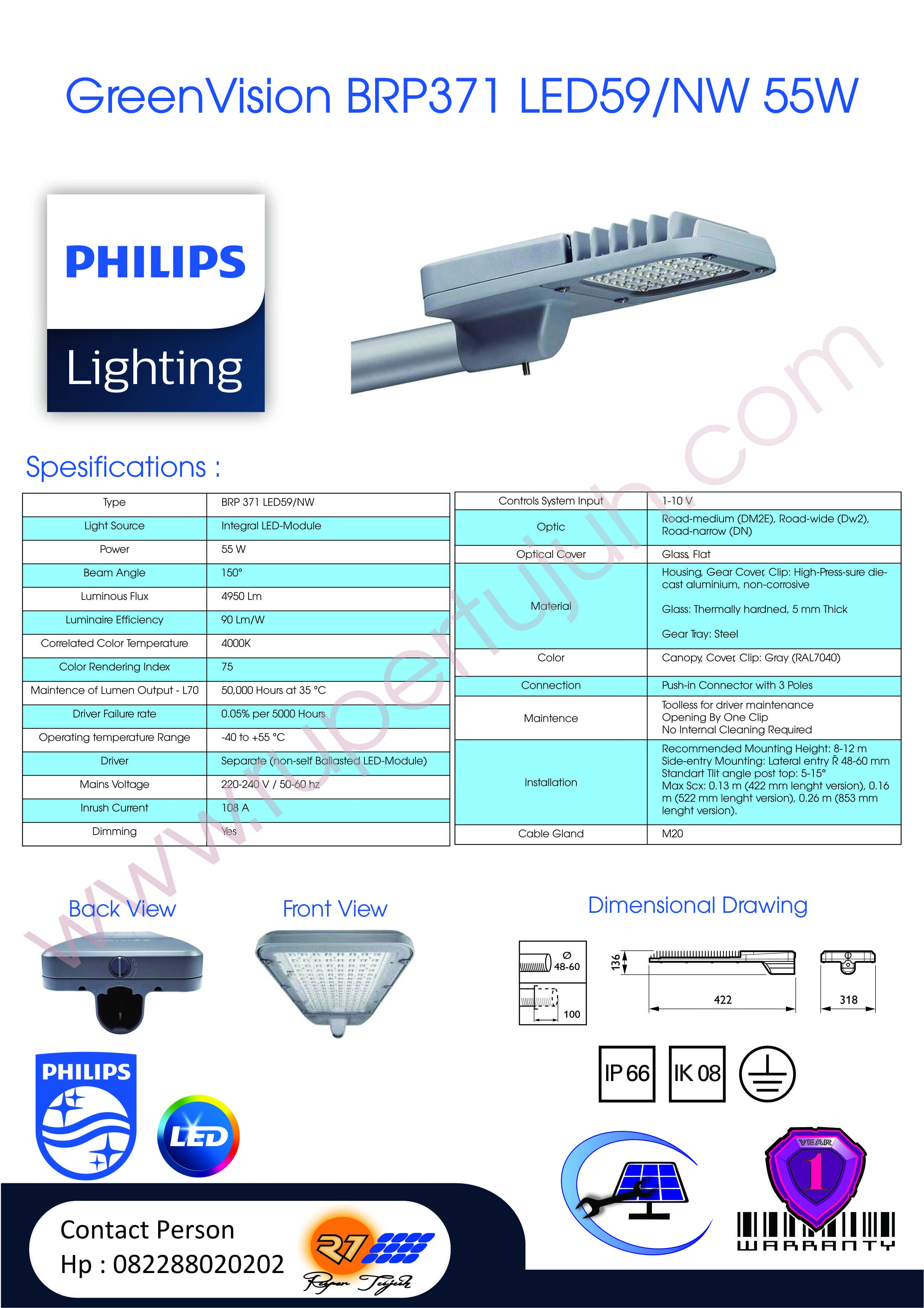 GreenVision BRP371 LED59/NW 55W 220-240V DM MP1